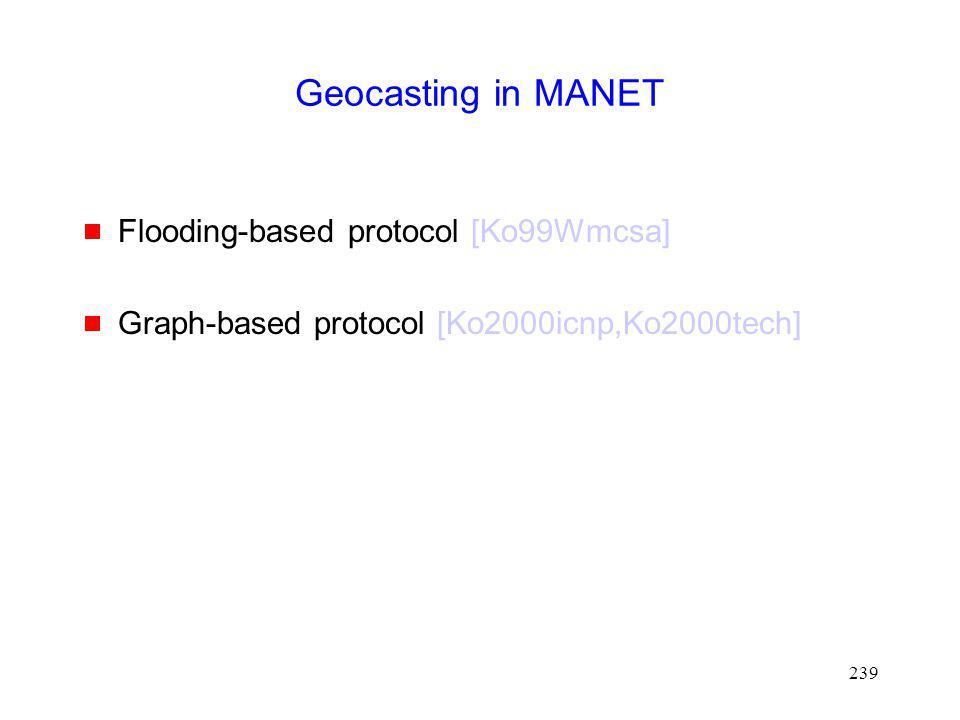 Geocasting in MANET Flooding-based protocol [Ko99Wmcsa]